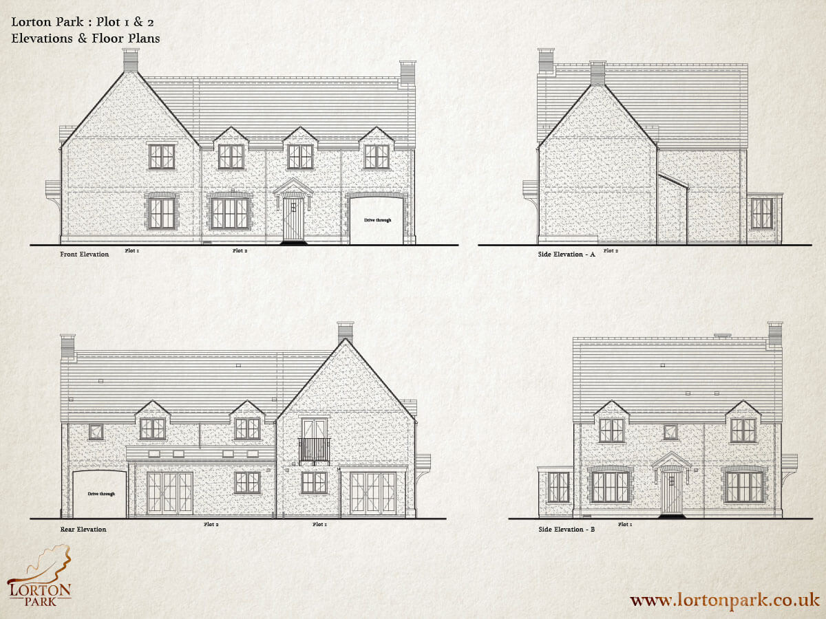 Plot One and Two Side Elevations, Phase One, Lorton Park