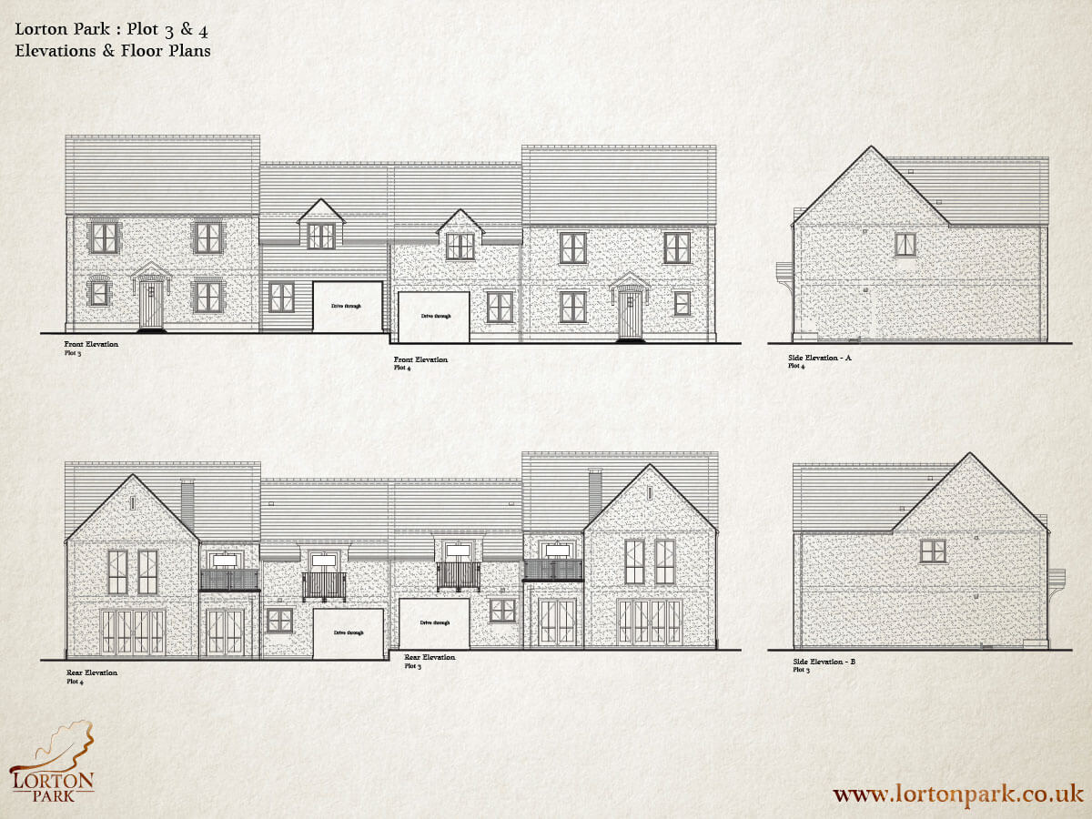 Plot Three and Four, Side Elevations, Phase One, Lorton Park